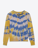 Destroyed Sweatshirt in Yellow and Blue Tie-Dyed French Terrycloth