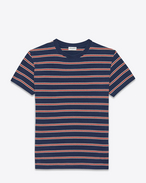 Distressed Short Sleeve T-Shirt in Navy Blue, Ivory and Red Striped Cotton Jersey