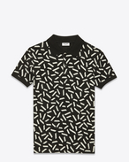 Classic Polo shirt in Black and Ivory Confetti Printed Piqué Cotton