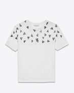 Distressed Short Sleeve T-Shirt in Ivory and Black Triangle Printed Cotton Jersey