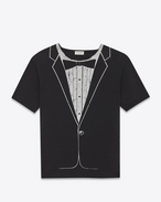 Classic TUX Short Sleeve T-Shirt in Black and Ivory Cotton Jersey