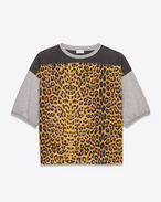 Jersey Short Sleeve T-shirt in Heather Grey, Beige, Brown and Black Leopard Printed Cotton Jersey