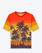 Short Sleeve T-Shirt in Orange, Yellow, Purple and Brown Palm Tree Printed Cotton Jersey