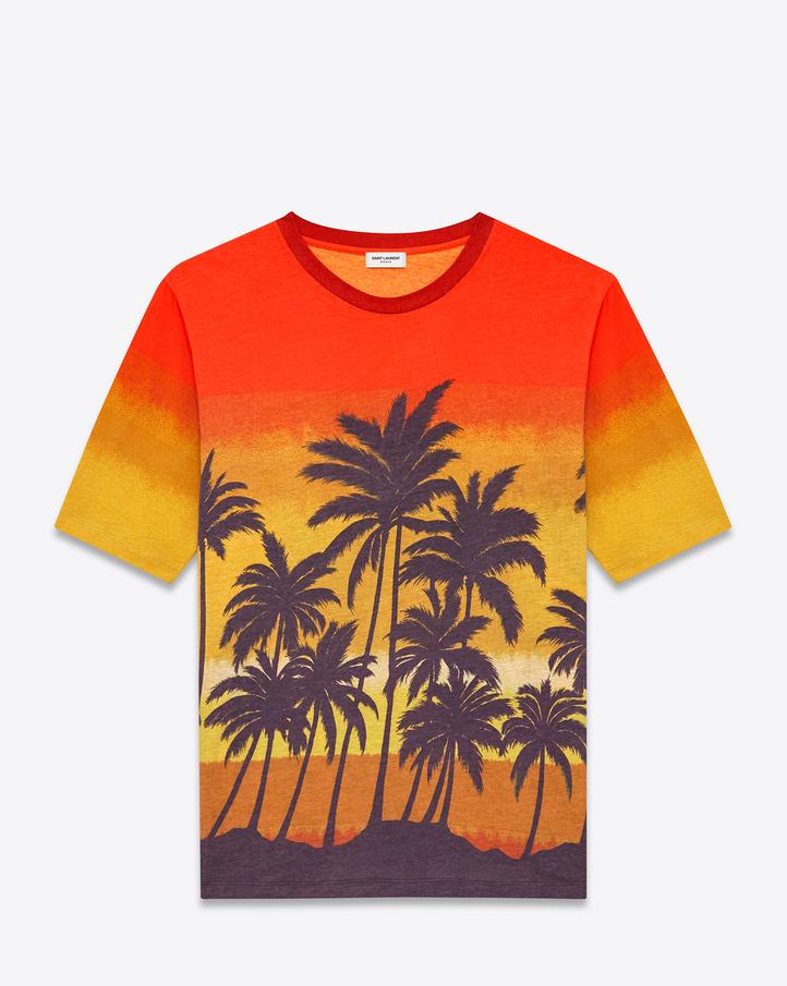 Saint Laurent Short Sleeve T Shirt In Orange, Yellow, Purple And ...