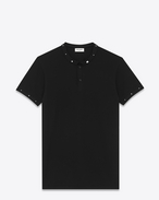 Classic Band Collar Studded Polo Shirt in Black Piqué Cotton