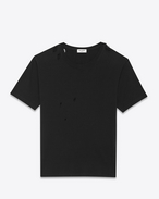 Ripped Short Sleeve T-Shirt in Black Cotton Jersey