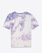 Short Sleeve T-Shirt in Ivory, Violet and Blue Tie-Dyed Cotton Jersey