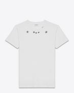 T-Shirt a maniche corte color avorio e nera in jersey di cotone con stampa Star