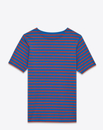 Distressed Marinière Short Sleeve T-Shirt in Blue and Red Striped Cotton Jersey