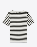 Distressed Marinière Short Sleeve T-Shirt in Ivory and Black Striped Cotton Jersey
