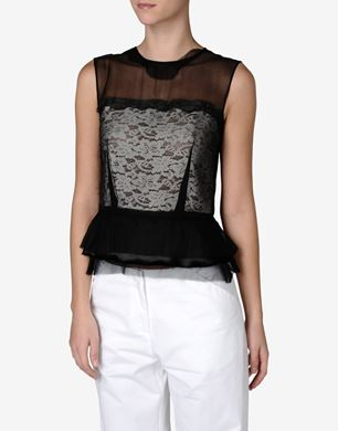 Maison Margiela Silk chiffon top with lace application
