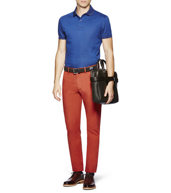 ERMENEGILDO ZEGNA: Short-Sleeved Polo Blue - 37833456FW