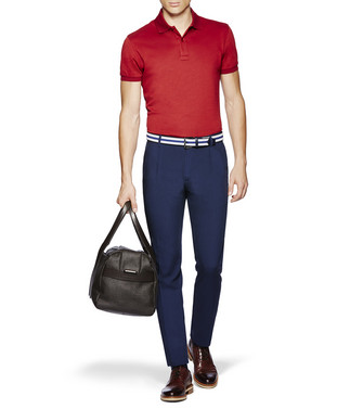 ERMENEGILDO ZEGNA: Short-Sleeved Polo Blue - 37833458WX