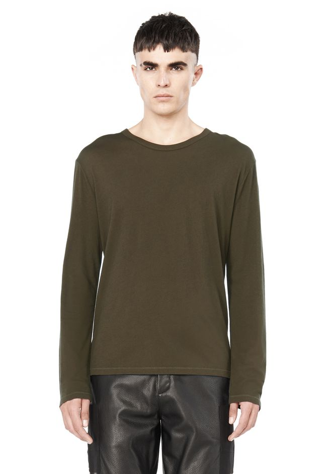 T by ALEXANDER WANG TOPS Men CREWNECK LONG SLEEVE TEE