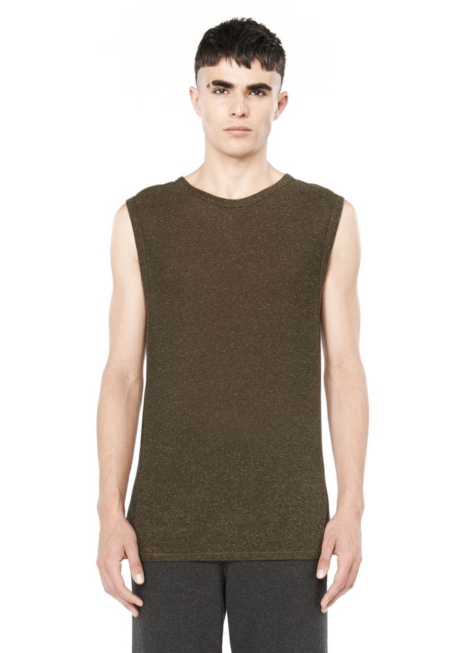 T by ALEXANDER WANG TOPS Men SLUB RAYON SILK CREWNECK MUSCLE TANK