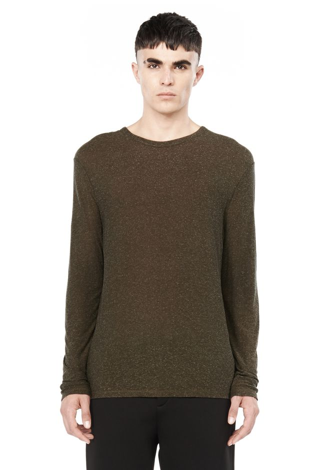 T by ALEXANDER WANG TOPS SLUB RAYON SILK CREWNECK LONG SLEEVE TEE