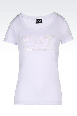 Armani T-Shirt manica corta Donna t-shirt in cotone con logo pearls