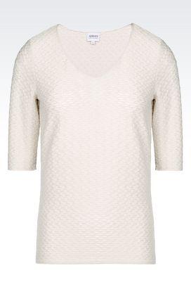 Armani Print t-shirts Women jersey t-shirt with woven motif