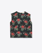 Sleeveless Cropped Top in Black and Red Grunge Rose Printed Viscose Crêpe