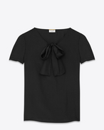 Oversized Lavaliere Blouse in Black Satin