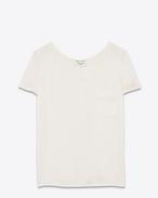 T-shirt à poche à manches courtes en soie blanc cassé