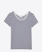 Classic Short Sleeve T-Shirt in White and Blue Striped Cotton and Modal