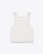 Cropped Tank Top in Ivory Wool and Polyester Jersey