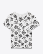 Classic Short Sleeve T-Shirt in Ivory and Black Wild Cat Printed Cotton Jersey