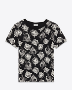Classic Short Sleeve T-Shirt in Black and Ivory Wild Cat Printed Cotton Jersey