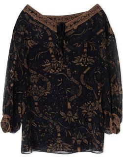 """Black Persian"" silk top"