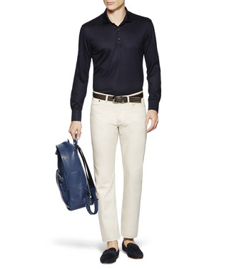 ERMENEGILDO ZEGNA: Long-Sleeved Polo Blue - 37843145AA