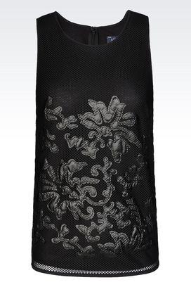 Armani Appliqué tops Women top with faux leather details