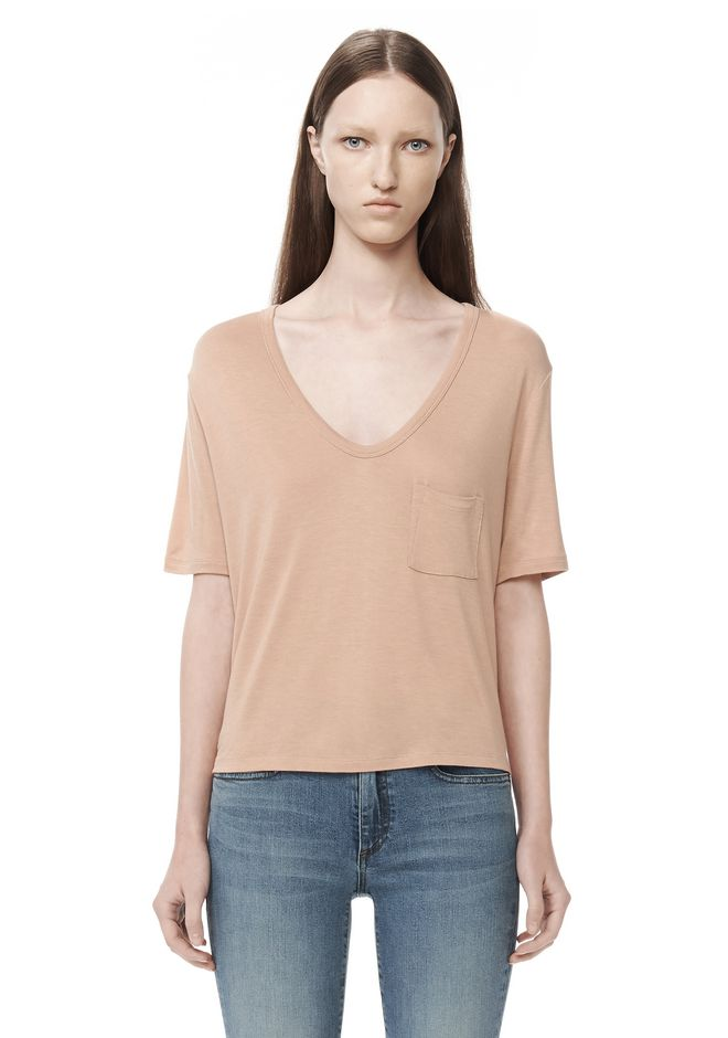 T by ALEXANDER WANG t-by-alexander-wang-sale CLASSIC CROPPED TEE WITH POCKET