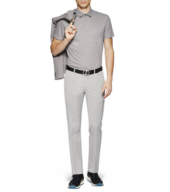 ZZEGNA: Short-Sleeved Polo Light grey - 37845984KU