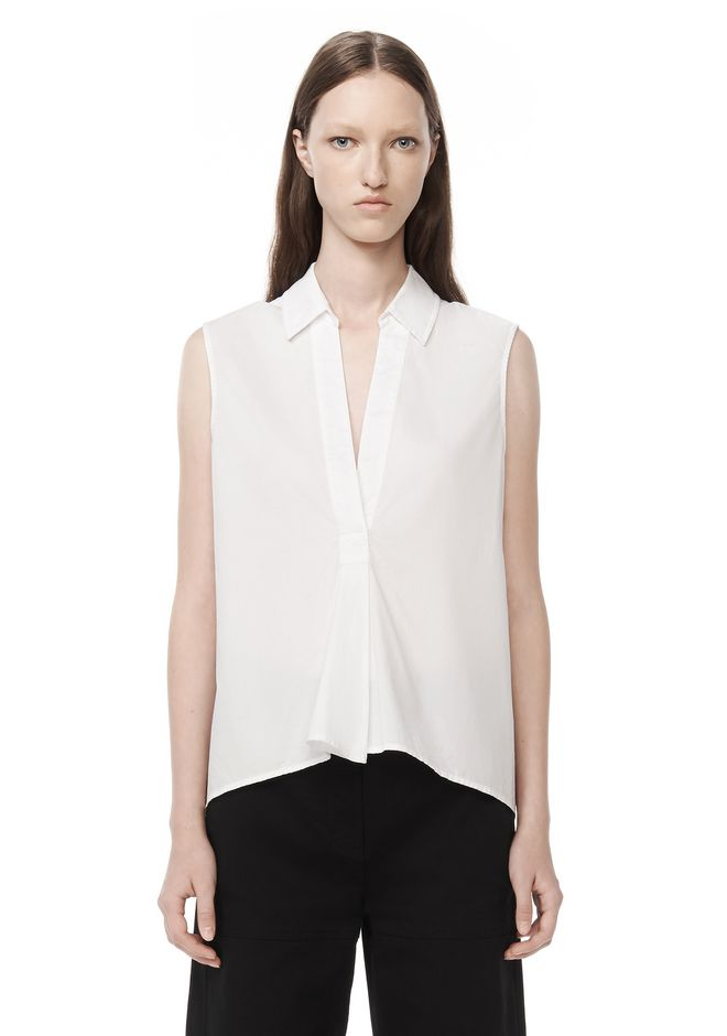 T by ALEXANDER WANG t-by-alexander-wang-sale SLEEVELESS COTTON POPLIN TRAPEZE SHIRT