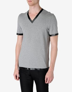 Cotton jersey V-neck T-shirt with rubber detail