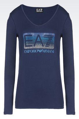 Armani T-Shirt manica lunga Donna t-shirt in cotone con logo luxury strass