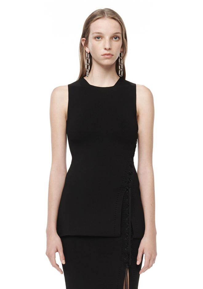 ALEXANDER WANG TOPS Women FITTED TANK WITH SIDE LACING