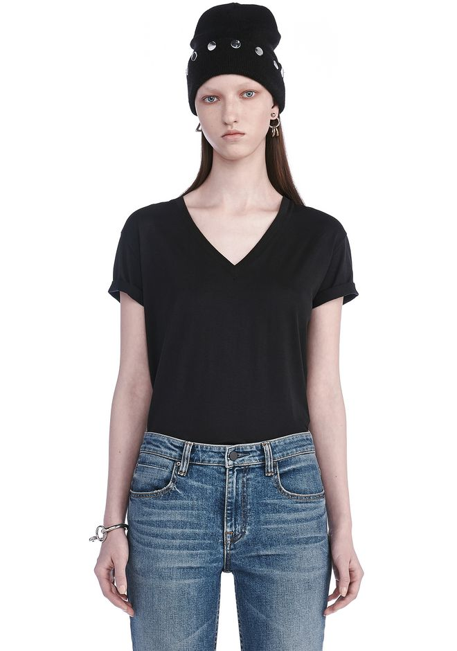 T by ALEXANDER WANG t-by-alexander-wang-classics SUPERFINE COTTON V-NECK TEE