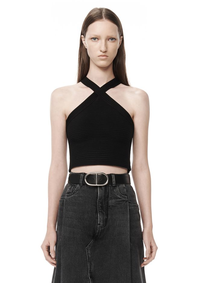 T by ALEXANDER WANG t-by-alexander-wang-sale RIBBED CRISS-CROSS TANK