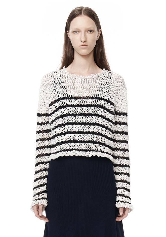 T by ALEXANDER WANG t-by-alexander-wang-sale RAW EDGE KNITTED CROP PULLOVER