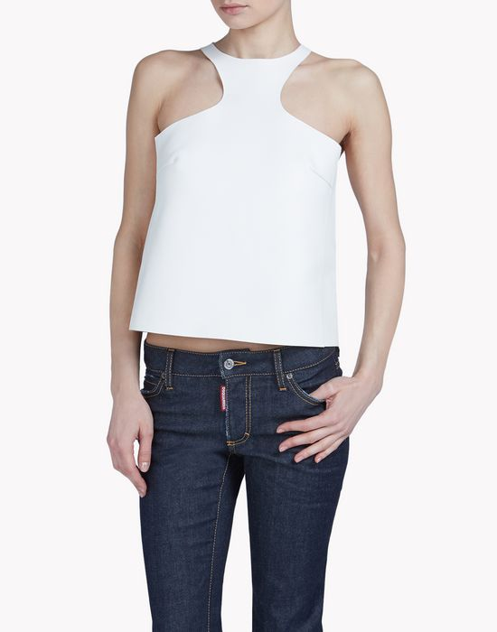 leather top tops & tees Woman Dsquared2