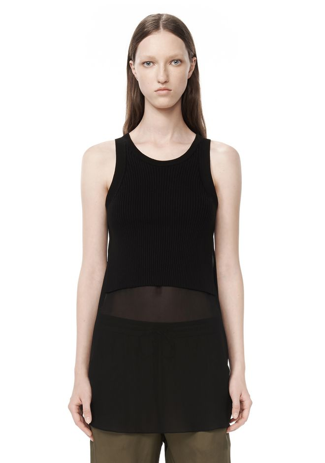 T by ALEXANDER WANG t-by-alexander-wang-sale RIB KNIT TANK WITH SILK COMBO SHIRTTAIL