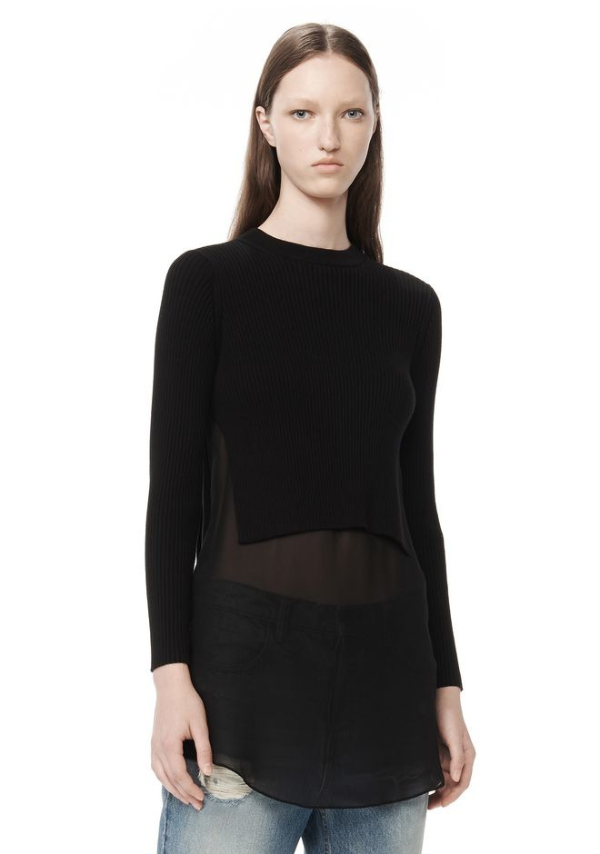 T by ALEXANDER WANG t-by-alexander-wang-sale RIB KNIT PULLOVER WITH SILK SHIRTTAIL