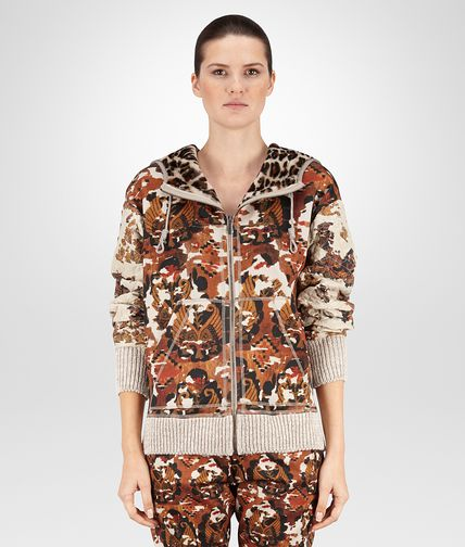 HOODIE IN MULTICOLOR TECHNICAL FLEECE WITH PRINTED SHEARLING DETAILS