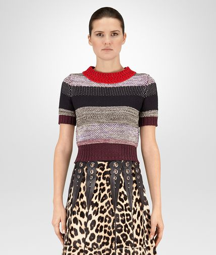 JUMPER IN MULTICOLOUR COTTON AND LUREX CROCHET