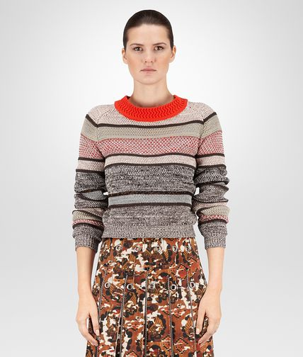 SWEATER IN MULTICOLOR COTTON AND LUREX CROCHET