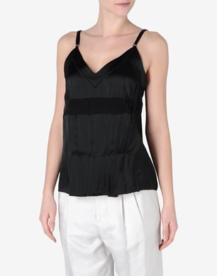 Maison Margiela Pleated satin top