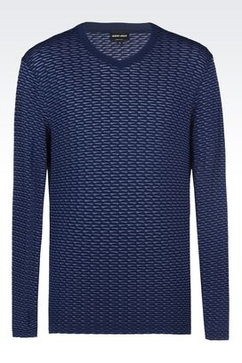 Armani T-shirts Men sweater in textured jersey
