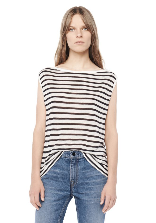 T by ALEXANDER WANG t-by-alexander-wang-classics STRIPE LINEN BOATNECK MUSCLE TEE